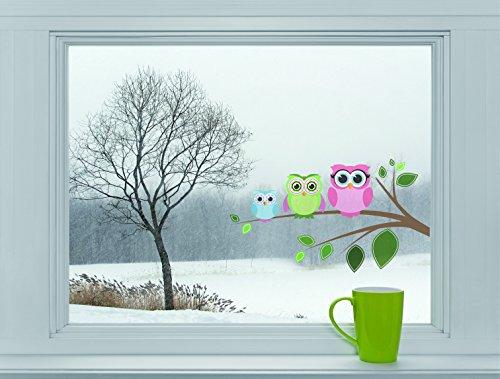 Mabi-IN-Design Eulen auf AST - Fenstersticker Sticker Aufkleber Vögel Fensterbild F006