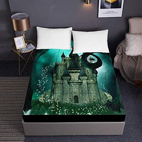 Bedclothes-Blanket Funda de colchón de Microfibra con Estampado de Cuento de Hadas, Protector de colchón Grueso de 30 cm-El 180x200x30cm_3