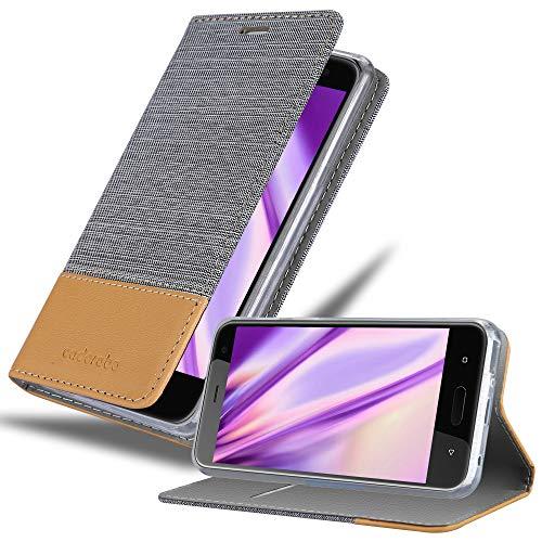Cadorabo Hülle für HTC U11 Life in HELL GRAU BRAUN - Handyhülle mit Magnetverschluss, Standfunktion & Kartenfach - Hülle Cover Schutzhülle Etui Tasche Book Klapp Style