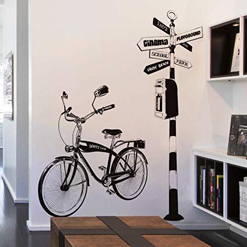 LSDAEER Wandtattoo Selbstklebend Modern Diy Fahrrad Verkehrsschild Wandaufkleber Schlafzimmer Wohnzimmer Wand Hintergrund Dekoration Aufkleber Schwarz Pvc