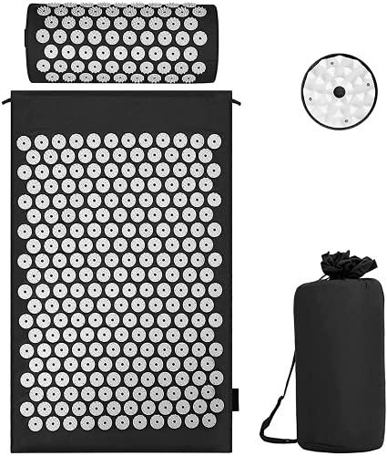 Akupressur Set Akupressurmatte mit Kissen für eine Wohltuende Entspannung und Massage, zur Erleichterung der Rückenschmerzen Kopf-Nackenschmerzen, Stimuliert Energiepunkte im Körper und Wirkt Anregend