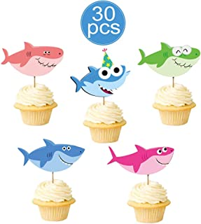 Vodolo Baby Little Shark Cupcake Toppers - Shark Family Cupcake Picks for Baby Shower Shark Theme Birthday Party Decorations Supplies (30Pcs)