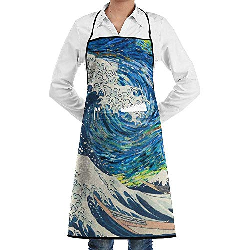 Reredith Sternennacht Spray Print Bib Schürzen verstellbare Home Depot Schürze Küchenchef Schürze mit Taschen für Frauen und Männer