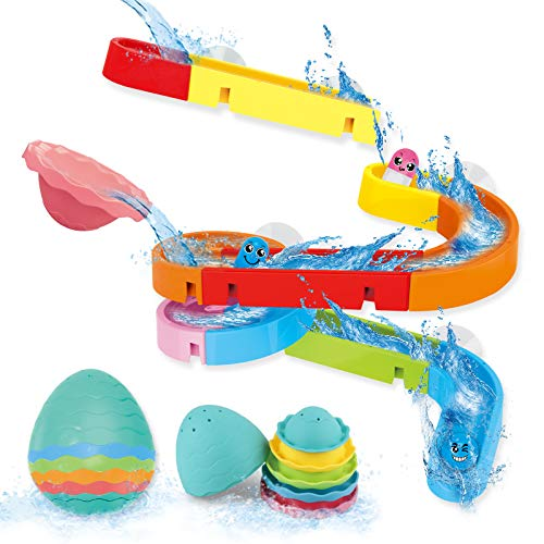 Dwi Dowellin Bath Toys for Toddlers DIY Water Slide Waterfall Ball Tracks with Egg Stacking Cups Wall Bathtub Tub Toys Set Fun Shower Gift for Kids Boys Girls Age 3 4 5 6 7 8 Years Old