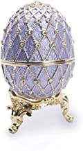 Light Blue/Lavender Faberge Style Egg Figurine with Ring Insert - Swarovski Crystal, Limited Edition Collectible