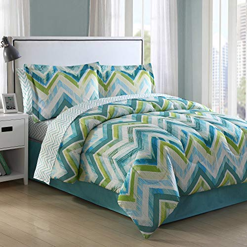 Ellison Great Value Connor Chevron 8 Piece Bed in a Bag, Queen, Blue