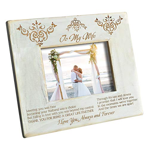 K KENON Personalized Wood Picture Frame to My Wife - Engraved Natural Wood Photo Frame - I Love You Always and Forever (to My Wife)