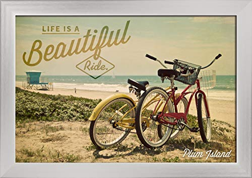 Plum Island, Massachusetts, Life is a Beautiful Ride, Bicycles and Beach Scene, Photograph (18x12 Giclee Art Print, Gallery Framed, Silver Wood)