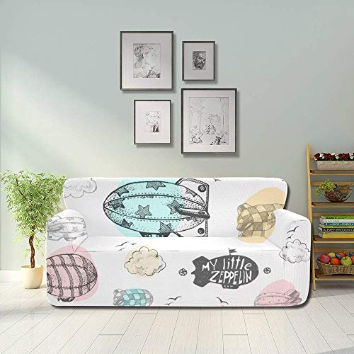 AQQA Cartoon Fairy Steampunk Airship Sky Sofa Protector Cover Covers Couch Fitted Furniture Protector 2&3 Seat Sofas