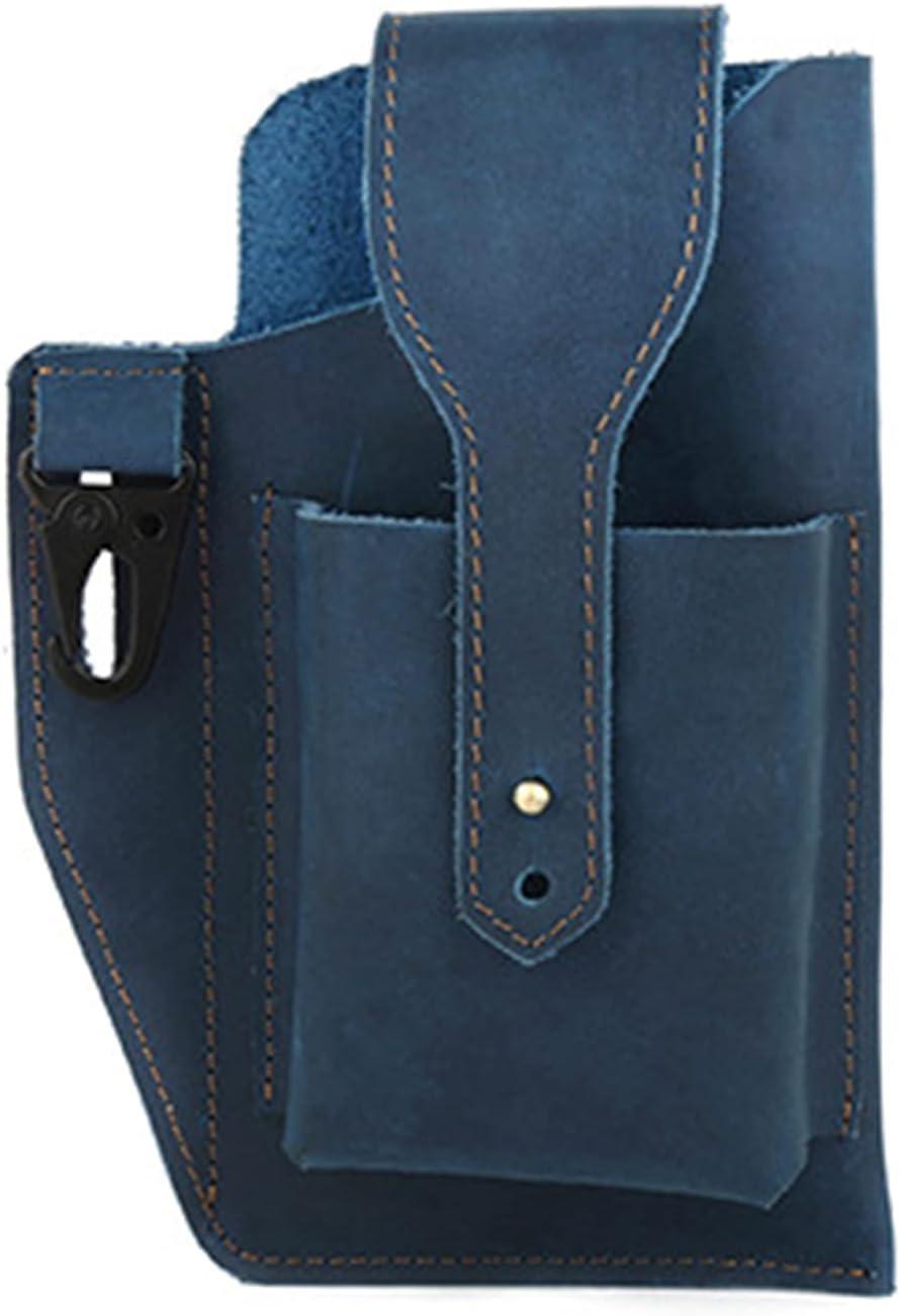 COKLYOA Crazy Horse Leather Bag, Retro Men Waist Bag Genuine Leather Cell Phone Holster Case, Leather Belt Pouch Fanny Pack, Leather Holster Case (Blue)
