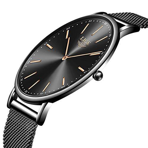 LIGE Herren Uhren Mode Wasserdicht Sport Analoger Quarz Uhr Ultra dünne Zifferblatt Schwarze Edelstahl Mesh Freizeit Armbanduhr Manner