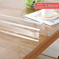 クリアPVCテーブルクロス、防水プロテクター表、1.0ミリメートル/ 1.5ミリメートル/ 3.0ミリメートルの厚さの、ホテル、レストラン、キッチン、コーヒーテーブル (色 : 3.0mm thick, Size : 85x135cm)
