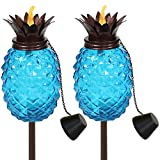 Sunnydaze Tropical Pineapple 3-in-1 Blue Glass Outdoor Torches - 23- to 63-Inch Adjustable Height - Glass Torches with Metal Poles - Great for Backyard Lighting and Entertaining - Set of 2