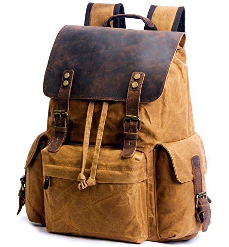 SUVOM Vintage Canvas Backpacks Genuine Leather 15.6' Laptop Rucksack Waterproof School Bag Travel Casual Daypack(Khaki)