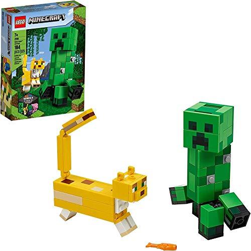 meimie00 Minecraft Creeper BigFig y Ocelot Personajes 21156 Juguete para armar Figura de Minecraft Set de Regalo para Juego y decoración Nuevo 2020 (184 Piezas)