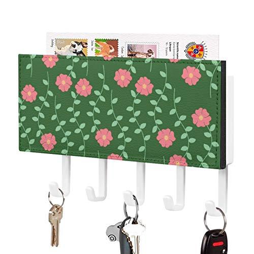 Organizador de llaves para colgar en la pared, diseño botánico de cerezo real P J Redouté para colgar llaves de pared, para entrada, almacenamiento, sala de estar, pasillo, oficina