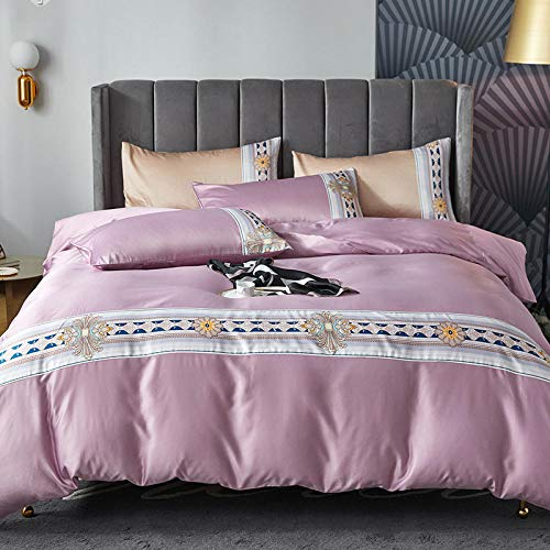 double bedding duvet set,Simulation silk solid color digital print bed four-piece set-G_1.8m bed (4 pieces)