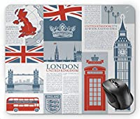 Phone Booth London United Kingdom Themed Landmarks and Flags, Slate Brown Vermilion and Pale Blue Grey Mouse Pad
