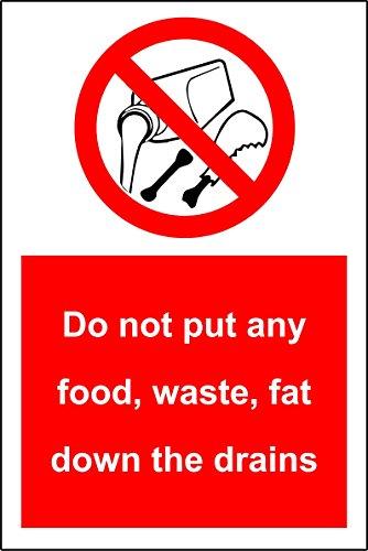 Geen voedsel/afval/vet in de afvoer doen - Zelfklevende sticker 200mm x150mm