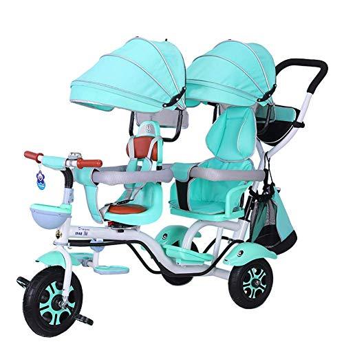 Triciclo para niños, Triciclo para niños, Triciclo para niños doble 4 en 1 Triciclo, Cochecito doble Confort Bicicleta de dos asientos y 3 ruedas para niños con asiento giratorio, Carro para bebés pa