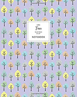 Trees Notebook - Ruled Pages - 8x10 - Large: (Mauve Edition) Fun Notebook 192 Ruled/Lined Pages (8x10 inches / 20.3x25.4 c...