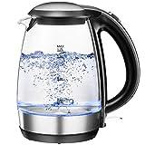 Glas Wasserkocher 1,7L, 2200W mit LED-Anzeige und Abschaltautomatik, NOVETE Elektrischer Wasserkocher Kalkfilter Überhitzungsschutz Trockenlaufschutz Edelstahl BPA frei Teekocher Schnellkochfunktion