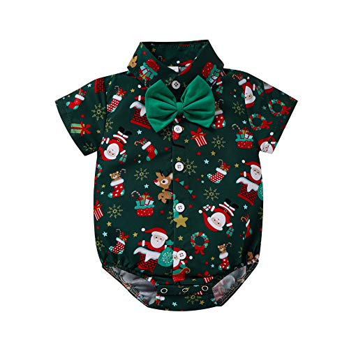IWEMEK Baby Boys 1st Christmas Outfits Bow Tie Shirt Romper Santa Reindeer Xmas Bodysuit Birthday Cake Smash Clothes Tuxedo Gentleman Suit Photo Shoot Costume Dark Green Santa Romper 6-12 Months