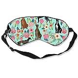Windhund Schlafmaske mit Blumenmuster, Vintage-Design, verstellbar, leicht, bequem, Augenschutz, Augenschutz, Augenschutz für Schlafen Reisen, Schicht, Arbeit, Nickerchen, Meditation und...