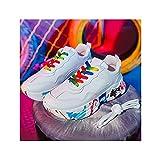 HaoLin Calzado de Running Ligero para Mujer, Calzado Deportivo Transpirable, Zapatos para Correr en La Calle, Zapatos de Ocio para Fitness Al Aire Libre,White-36 EU
