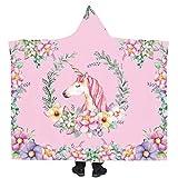 Manta con Capucha De Unicornio De Animales De Dibujos Animados, Mantas De Franela para Hombres, Mujeres Y Niños Adultos,C,200 * 150cm
