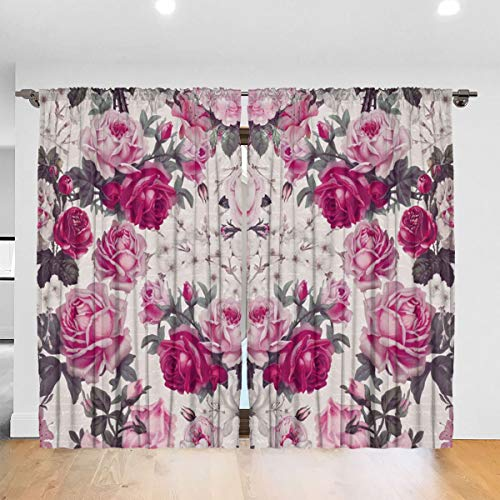 HelloWorldA Vintage Rose In Shades of Pink Blackout Curtains Thermal I