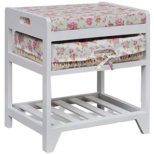 Cikonielf - Banco de almacenamiento para zapatos con asiento acolchado, estante de almacenamiento para entrada, salón, pasillo, dormitorio, 42,5 x 32 x 45,2 cm, color blanco