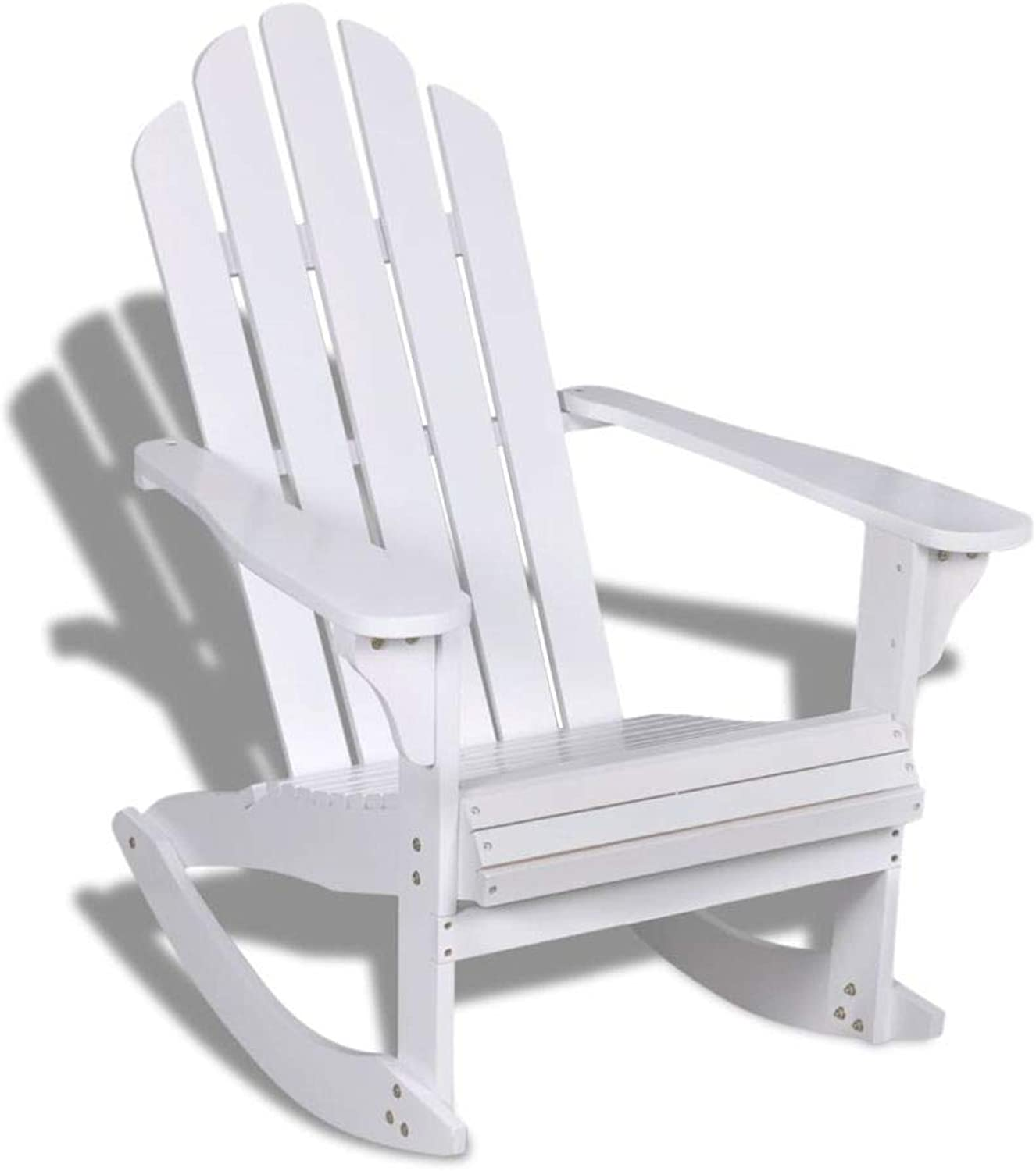 VidaXL Rocking Chair Wooden Slat White Outdoor Indoor Living Garden Patio Home