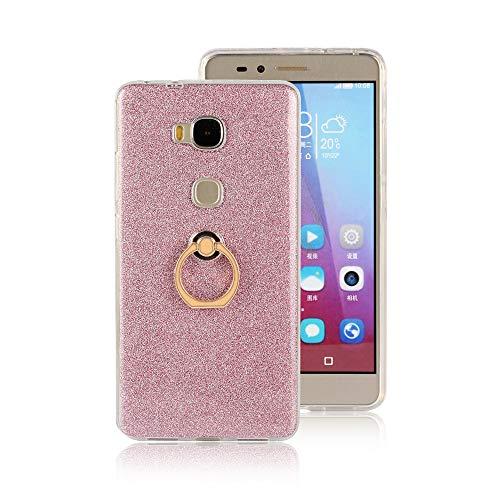 GARITANE Hülle für Huawei Honor 5X/GR5,Bling Glitzer Handyhülle Clear Silikon Bumper Tasche Hülle Cover mit Ring Ständer Fingerhalterung (Rosa)