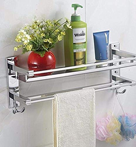 Great Deal! ZH FREEDROM Towel Rack Stainless Steel Bathroom Shelf Mounted On The Wall Single Layer D...