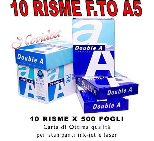 10 Risme CARTA A5 80gr 500 Fogli Carta Bianca Fotocopie Stampante 14,8x21cm RICETTE - 5000 FOGLI DOUBLE A
