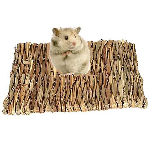 HEEPDD Estera de la Hierba del hámster, Animales pequeños para Mascotas Tejido a Mano Estera de la Hierba Conejito Ropa de Cama Masticar para Conejillo de Indias Loro Conejo Conejito Hámster (S)
