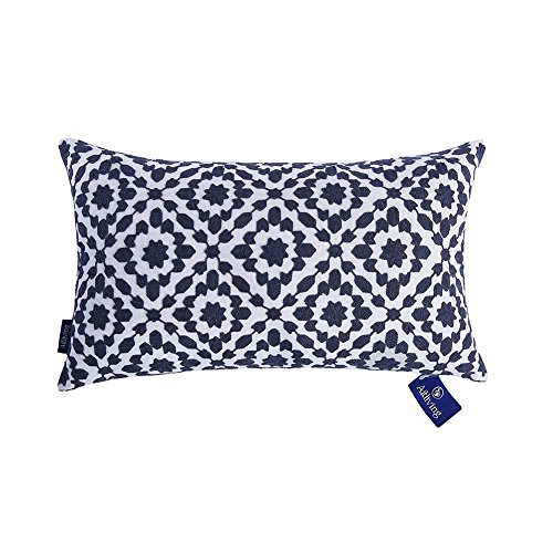 Aitliving Bolster Pillow Cushion Cover for Sofa, Cotton Canvas 1pc Contemporary Mina Dark Blue Patterned with Trellis Slate Blue Embroidery Cushion Pillow Case 30x50cm (12x20 inches)