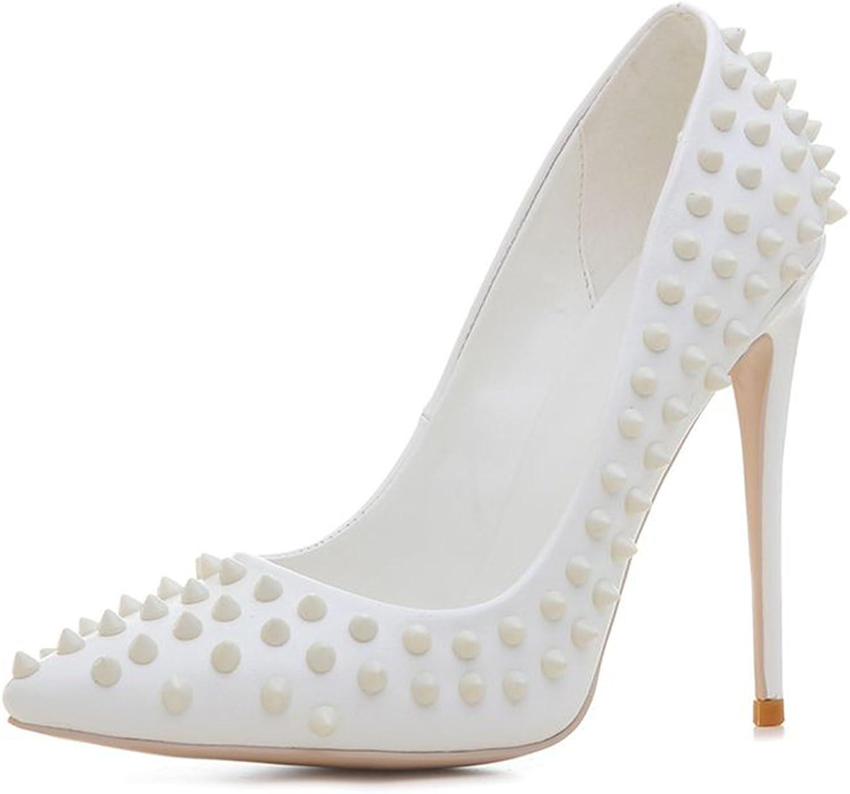 Kaloosh Women's Pointed Toe Stiletto High Heel Rivet Glitter Office Court shoes Party Pumps
