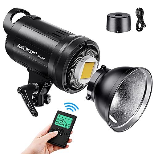 K&F Concept - SL-60W LED Video Luz Blanca 5600K Versión, 60W CRI 95+, TLCI 95+ con Control Remoto y Reflector, Montaje Bowens de Iluminación Continua para Video, Fotografía al Aire Libre,