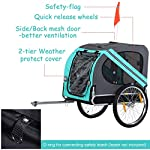 PawHut Folding Dog Bike Trailer Pet Cart Carrier for Bicycle Travel in Steel Frame - Green & Grey 15