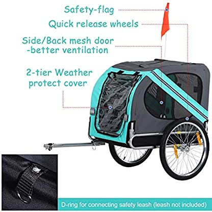 PawHut Folding Dog Bike Trailer Pet Cart Carrier for Bicycle Travel in Steel Frame - Green & Grey 6