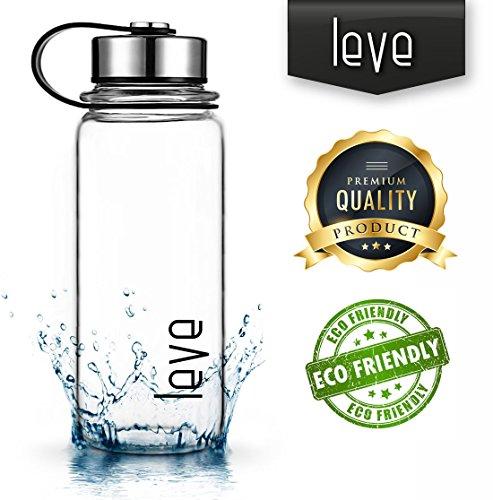 leve 1L Auslaufsichere Trinkflasche aus Hochwertigem Borosilikat-Glas | für Tee und Früchte, Grosse Wasserflasche für Reise, Home, Office, Sport, Fitness, Fitnessstudio | Grösse 1000ml mit Lasche