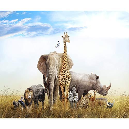 decomonkey Fototapete Afrika Tiere 250x175 cm XL Tapete Fototapeten Vlies Tapeten Vliestapete Wandtapete moderne Wandbild Wand Schlafzimmer Wohnzimmer Kinderzimmer Elefant Giraffe