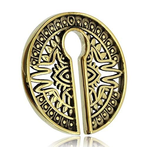 Chic-Net Piercing de ombligo para hombre y mujer, 31 g de peso, dilatador de latón en oro, para dilatación de 8 mm en forma de círculo con ranura, para colgar, diseño de ojo