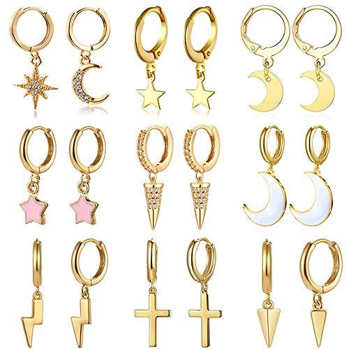 9 Pairs Creolen Ohrringe mit Mond und Stern Anhänger aus vergoldetem für Frauen und Mädchen CZ Blitz kreuz Creole mit anhänger