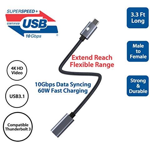CONMDEX USB C Verlängerungskabel Stecker auf Buchse USB Kabel USB 3.1 Datenladekabel 10Gbps,20V/5A Unterstützung 4K Video/Audio Verlängerungskabel Kompatibel mit M1 MacBook Pro,Galaxy S21,Pixel 5-1M