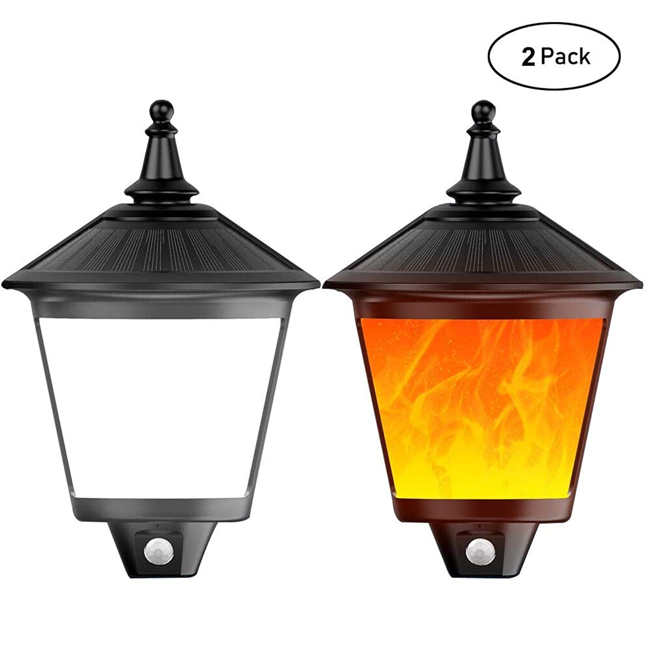 BlueFire Waterproof Solar Lights Solar Torches Lights Flickering Flames LED Solar Wall Lights Outdoor Motion Sensor Activated Night Light Wall Lamp for Path Patio Yard Porch Garden Fence (2 Pack)