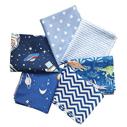 "levylisa 6pcs Cotton Print Fabric Astronaut Dinosaur Stars Wave Striped Fat Quarters 18""x22"" Fabric Bundle Squares Patchwork for Sewing Handmade DIY Crafts Boys Quilt"
