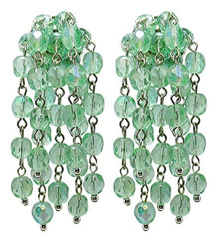VINTAGE 2B GREEN - Orecchini con clips fatti a mano, 7 pendenti in cristallo Verde chiaro, nickel free, originali anni 60, lunghezza cm. 6